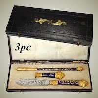 Antique French Enamel Pen Set, French Writer's Gift Set in Original Tooled Leather Box, c. 1800s, Seal, Sceau