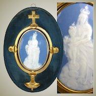 "HUGE Antique French Pate-sur-pate Porcelain Madonna Plaque & Bronze Holy Font, 16"" Tall - RARE!"