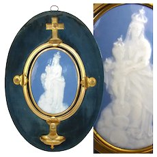 "HUGE Antique French Pate-sur-pate Porcelain Madonna Plaque & Bronze Holy Font, 16"" Tall - RARE!"