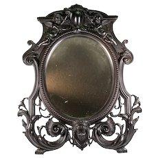 "RARE Antique French Gutta Percha 19"" Frame, A RARE c.1860s Figural Neoclassical Vanity Mirror"