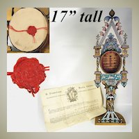 "RARE 17"" Tall Micro Mosaic Altar Stand Reliquary w Wax Seal, Papal Guarantee Documents, c.1863"