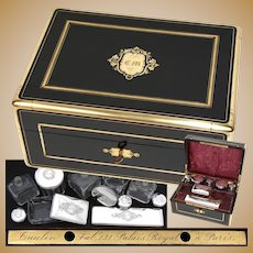 Superb Antique French Taulin Palais Royal Travel Chest, Box, Sterling Topped Jars & More