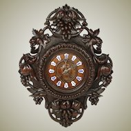"Superb Antique Black Forest Carved Oak 24"" Parlor Clock, Ornate Foliage, Enamel Numerals"