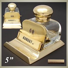Rare Antique Victorian to Edwardian Cut Crystal & Brass Inkwell with Perpetual Calendar