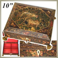 """Antique French Napoleon Era c.1820 10"""" Playing Card, Sewing or Work Box, Hand Painted Bird, Nest & Butterflies"""