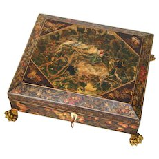 "Antique French Napoleon Era c.1820 10"" Playing Card, Sewing or Work Box, Hand Painted Bird, Nest & Butterflies"