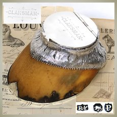 """Rare Antique Victorian English Sterling Silver & Horse Hoof Inkwell, """"Clansman"""""""