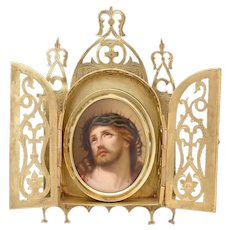 Antique French Napoleon III HP Portrait Miniature: Jesus with Thorn Crown, Cabinet Style Bronze Frame