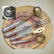 Antique French Sterling Silver 4pc Serving Implement Set, Classical or Empire Styling