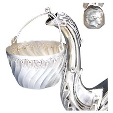 Elegant Antique French Sterling Silver Tea Pot Leaf Strainer, Louis XV Rococo Spiral