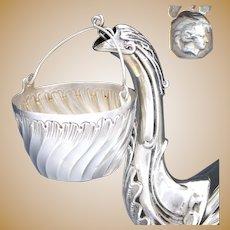 Elegant Antique French Sterling Silver Tea Pot Leaf Strainer, Louis XV Rococo Spiral