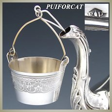 Antique French PUIFORCAT Sterling Silver Tea Pot Strainer, Guilloche Style Acanthus & Garland