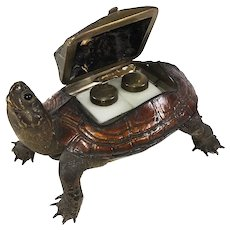 RARE Antique Box Turtle Taxidermy, A Double Inkwell w Milk Glass Inkwell Pair Inside