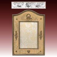 RARE & Fine 19th Century - 1920s French Empire Figural Ormolu Bronze Frame, Silk Mat