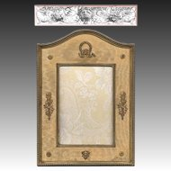 RARE & Fine 19th Century - 1920s French Empire Figural Ormolu Bronze Frame, Silk Mat