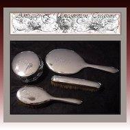 Antique English or American 4pc Sterling Silver Vanity Brush Set, Dresser Jar