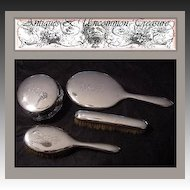 Antique English or American 4pc Sterling Silver Vanity Brush Set, Dresser Jar