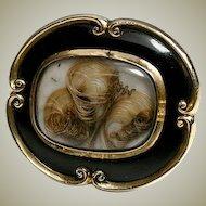 Victorian 12K Mourning Brooch, Antique, Black Enamel & Blond Hair Art
