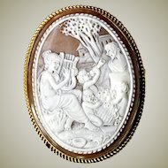 "Antique HC Shell Cameo in Large 2"" x 1.5"" Oval 12k Gold Brooch Mount, Victorian Grand Tour Italy"