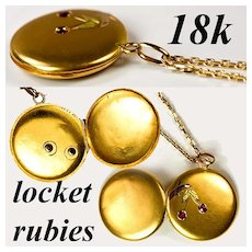 Antique 18k Gold Chain 14k Gold Locket with Ruby Set as Cherries, Enamel Leaves.