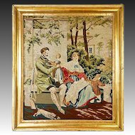 "Antique Victorian Figural Needlepoint Tapestry, 18.5"" Gilt Wood Frame, Children, Dog"