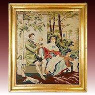 "Antique Victorian Figural Needlepoint Tapestry, 18.5"" Gilt Wood Frame, Children, Dog"