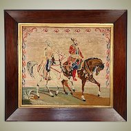 "Antique Victorian Figural Needlepoint Tapestry, 16.5"" Rosewood Frame, Arabian Horses"