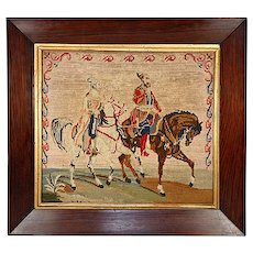 """Antique Victorian Figural Needlepoint Tapestry, 16.5"""" Rosewood Frame, Arabian Horses"""