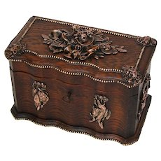 """Rare Antique French TAHAN Marked 10.5"""" Oak Box, Hunt Themed Figural Accent Appliqués"""