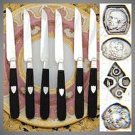 Antique French Sterling Silver & Ebony 6pc Knife Set, 1819-1838