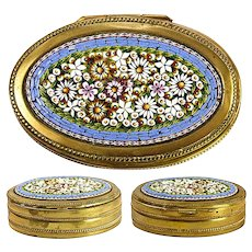 """Antique Edwardian Era Italian Micro Mosaic Jewelry or Snuff Box, 3.25"""" and Floral"""