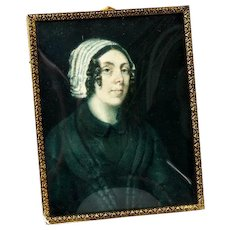 Antique French Portrait Miniature in Frame, Beautiful Lady in Lace Bonnet