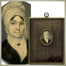 Antique Hand Painted French Portrait Miniature, Woman in Lace Bonnet, Frame