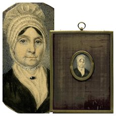 Antique Hand Painted French Portrait Miniature, Woman in Lace Bonnet, Frame