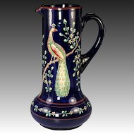 "BIG Antique to Vintage 11"" Tall Bohemian Enamel Glass Decanter, Pitcher for Wine, Water"