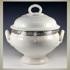 Antique French Faience Soup Tureen with Sterling Silver Collar, White Pottery
