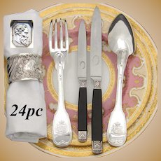 Antique French Louis XVIII Era Sterling Silver 24pc Dinner Flatware Set, Crown Armorial Heraldry