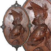 """Antique 27"""" Hand Carved Black Forest Plaque - Fruits of the Hunt, HUGE Goose or Duck Figure"""