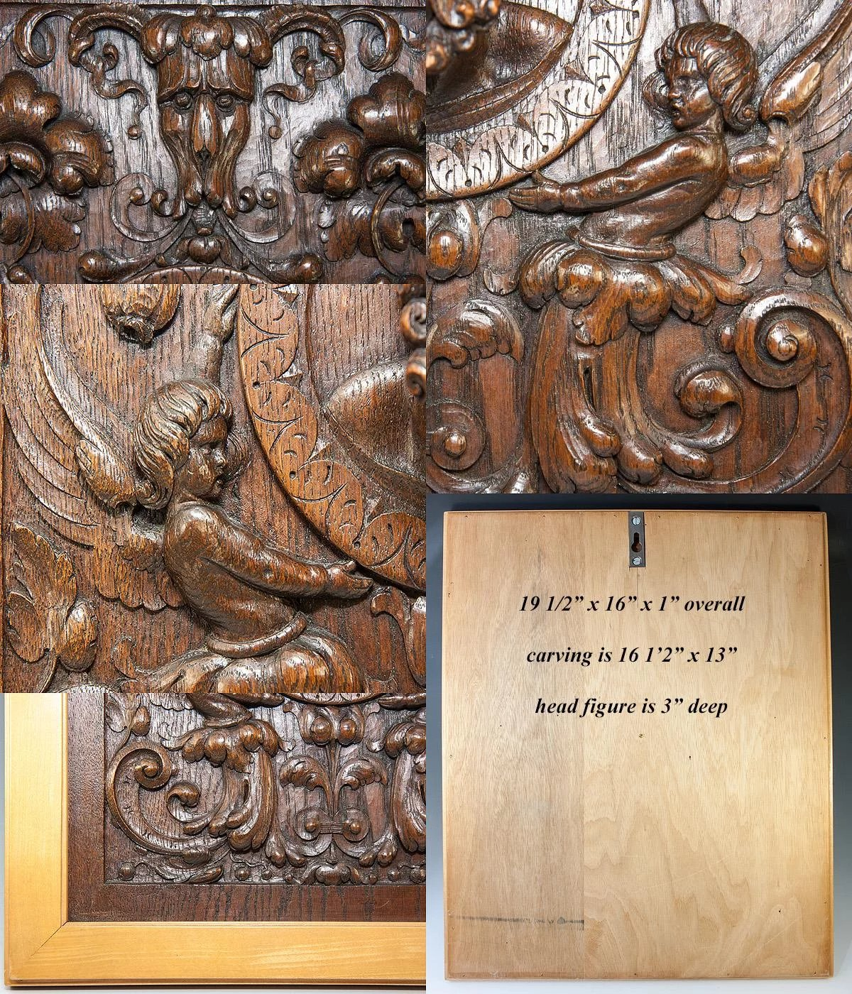 Fabulous antique hand carved oak panel in frame figural