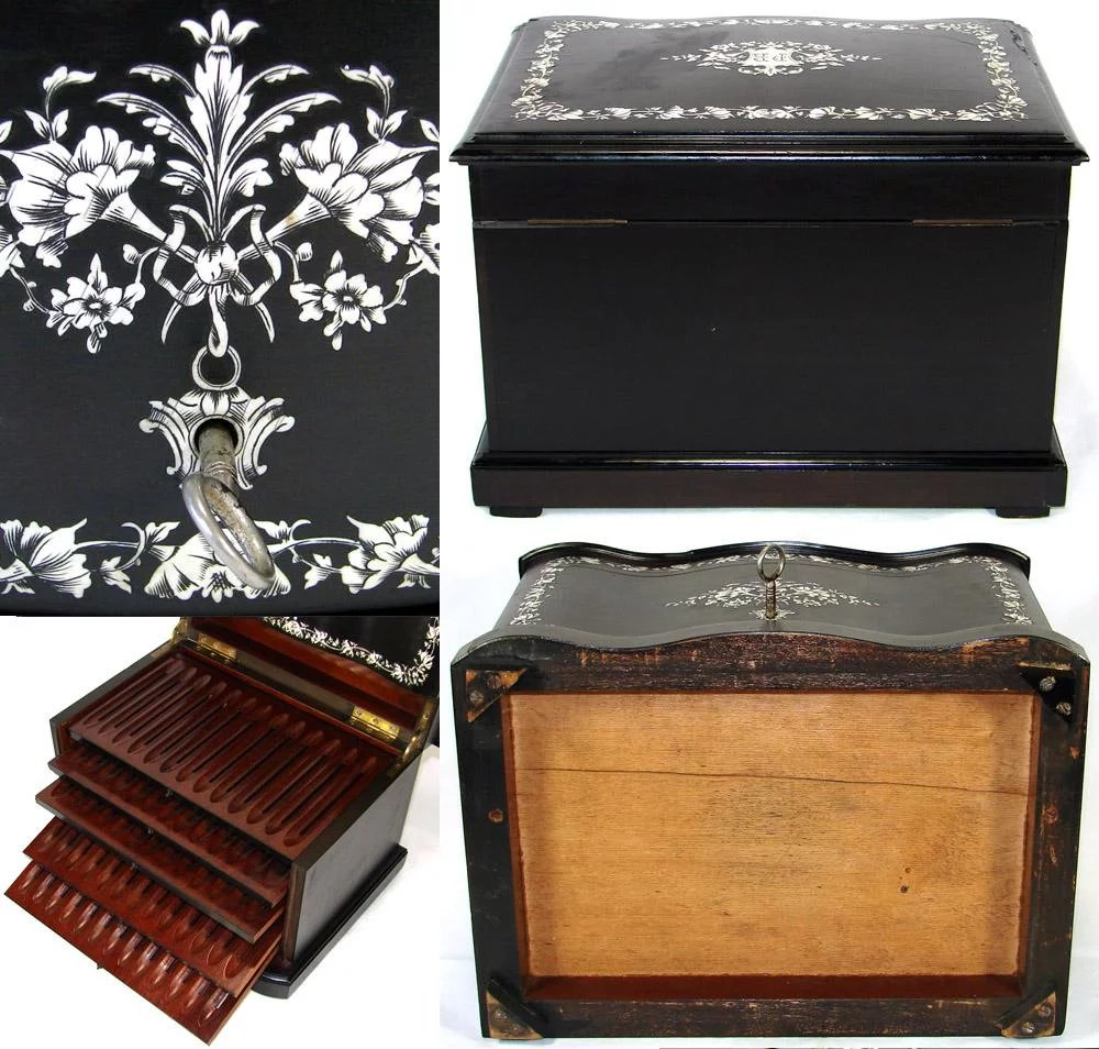 Rare Antique French 12 Tantalus Style Cigar Chest Or Box