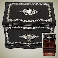 """Rare Antique French 12"""" Tantalus Style Cigar Chest or Box, Ebony w/ Ornate Inlay & Rosewood Interior"""