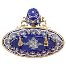 Antique French Kiln-fired Bresse Enamel Inkwell, Ink Well, Ink Pot, Cobalt Blue, Jewel Dots