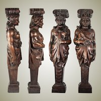 "FAB Antique Hand Carved Wood Caryatid Figures, PAIR, 15.5"" Tall, Man & Woman"