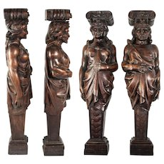 """FAB Antique Hand Carved Wood Caryatid Figures, PAIR, 15.5"""" Tall, Man & Woman"""
