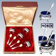 Antique French Sterling Silver & Cobalt Glass 4pc Open Salt Set w/ Spoons & Original Box