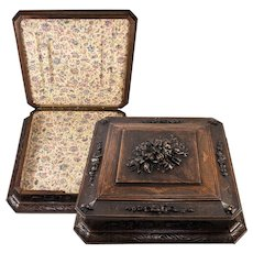 "HUGE Fine Antique Hand Carved Black Forest Box, Bible or , 16.5"" Square"