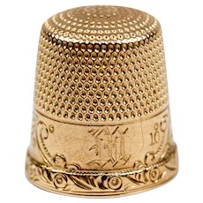 "Antique 14k Gold Sewing Thimble, Ketcham & McDougall, New York, ""M"" Monogram"