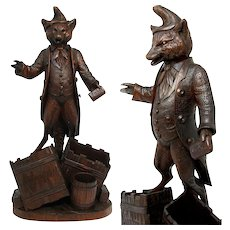"""Antique Carved Black Forest 14 5/8"""" Fox, Cigar or Tobacco & Match Holder Stand, Fables of Fontaine or Aesop's, Animalier, Fox"""