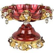 RARE Antique French BonBon, Tazza, Cranberry Glass & Opaline, Ormolu Flowers, c.1830