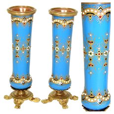 "PAIR Antique French Sevres Enamel 4 3/8"" Miniature Bud Vases, ""Jeweled"" Accenting, Paw Feet"